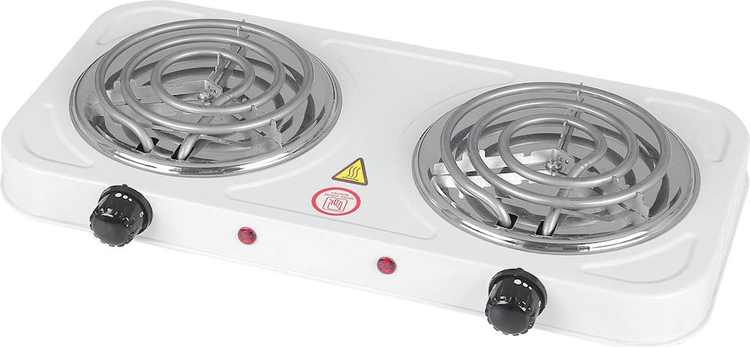 Emerald - Electric Double Burner - White