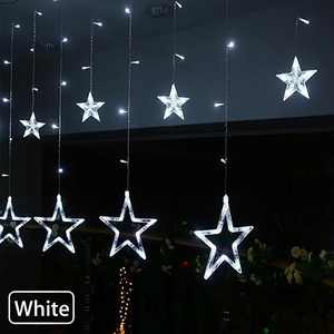 EEEkit Window Curtain Lights, Indoor Outdoor Decoration 12 Stars 138 LED Fairy Strip Lights for Christmas, Valentine's Day, Party, Wedding, Home