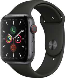 Geek Squad Certified Refurbished Apple Watch Series 5 (GPS+Cellular) 44mm Space Gray Aluminum Case with Black Sport Band - Space Gray Aluminum