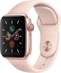Geek Squad Certified Refurbished Apple Watch Series 5 (GPS + Cellular) 40mm Gold Aluminum Case with Pink Sand Sport Band - Gold Aluminum