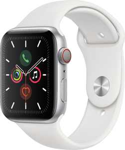 Geek Squad Certified Refurbished Apple Watch Series 5 (GPS + Cellular) 44mm Silver Aluminum Case with White Sport Band - Silver Aluminum