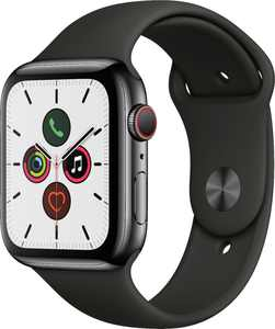 Geek Squad Certified Refurbished Apple Watch Series 5 (GPS + Cellular) 44mm Stainless Steel Case with Sport Band - Space Black Stainless Steel