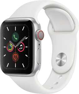 Geek Squad Certified Refurbished Apple Watch Series 5 (GPS + Cellular) 40mm Silver Aluminum Case with White Sport Band - Silver Aluminum