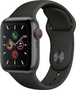 Geek Squad Certified Refurbished Apple Watch Series 5 (GPS + Cellular) 40mm Aluminum Case with Black Sport Band - Space Gray Aluminum