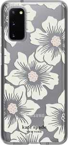 kate spade new york - Protective Hard-Shell Case for Samsung Galaxy S20 5G - Hollyhock Floral Clear/Cream With Stones