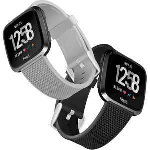 WITHit - Silicone Woven Watch Band for Fitbit Versa,Versa Lite, and Versa 2 (2-Count) - Black/Gray