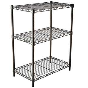 Ktaxon 3 Tier Black Heavy Duty Wire Shelves Organizer Wire Shelving Rack Unit,Metal Shelf   23.62 inch x 13.78 inch x 33.46 inch