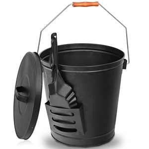 ZENSTYLE Steel Ash Bucket with Shovel Fireplace Pits Stoves 5 Gallon Tight Lid