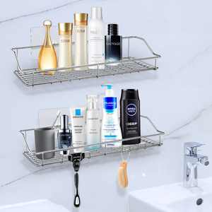 2 Pieces Shower Caddy, Stainless Steel Bath Shelf Adhesive Bathroom Caddy, No Drilling Wall Mounted (13.5Inches)