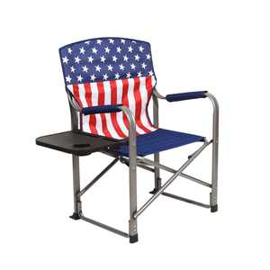 Kamp-Rite Outdoor Tailgating Folding Directors Chair with Side Table, USA Flag