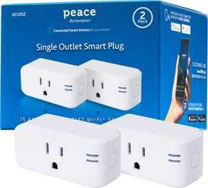 Peace by Hampton - Wi-Fi Smart Plug 15A (2-Pack) - White