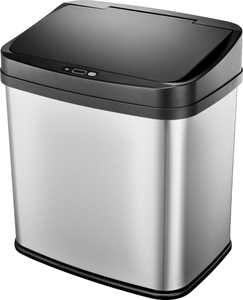 Insignia - 8 Gal. Automatic Trash Can - Stainless steel