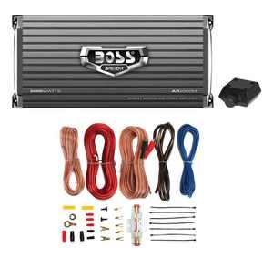 Boss Armor AR2000M 2000W Mono Car Audio Amplifier & Amp Wire Kit & Bass Remote