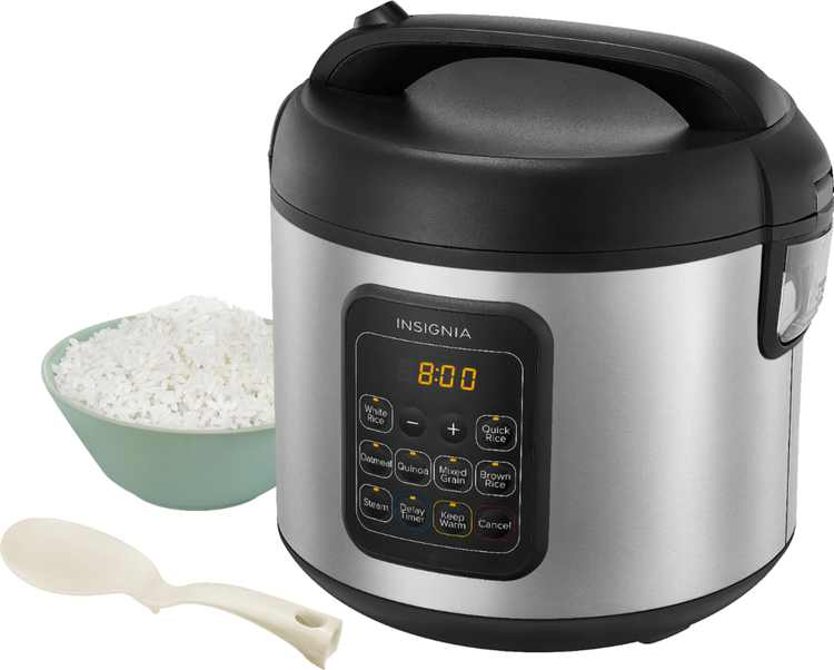 Insignia - 20-Cup Rice Cooker and Steamer - Stainless Steel