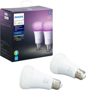 Philips - Geek Squad Certified Refurbished Hue White & Color Ambiance A19 Bluetooth Smart LED Bulb (2-Pack) - Multicolor