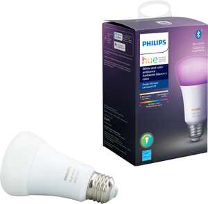 Philips - Geek Squad Certified Refurbished Hue White & Color Ambiance A19 Bluetooth Smart LED Bulb - Multicolor