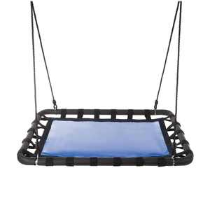 Hey! Play! - Platform Swing Hanging Outdoor Tree or Playground Equipment Standing Rectangle Bench Swing Accessory - Blue, Black