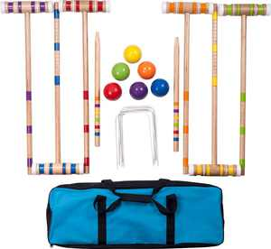 Hey! Play! - Croquet Set with Carrying Case - Blue/Yellow/Orange/Red/Green/Purple/Light Blue
