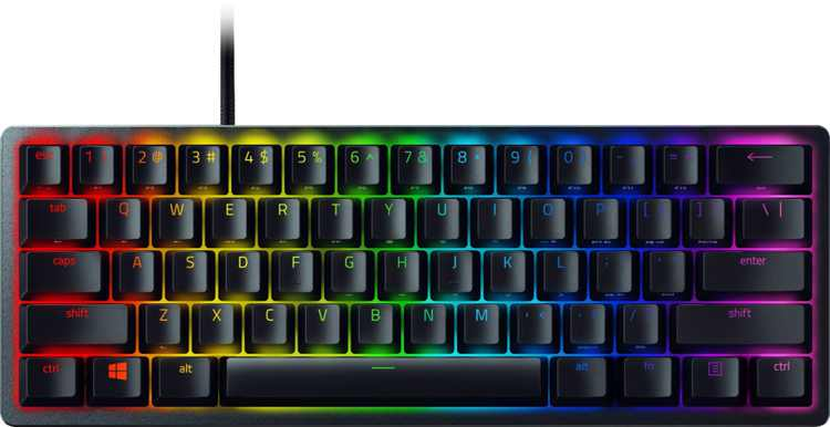 Razer - Huntsman Mini 60% Wired Gaming Clicky Optical Switch Keyboard with RGB Chroma Backlighting - Black