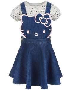 Little Girls 2-Pc. Denim Skirtall & T-Shirt Set