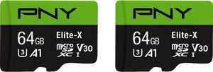 PNY 64GB Elite-X Class 10 U3 V30 microSDXC Flash Memory Card 2-Pack