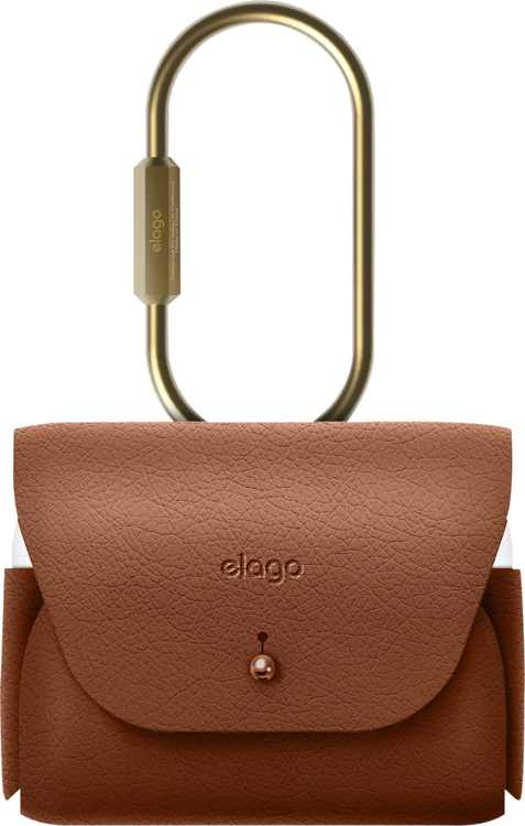 Elago - Leather Case for Apple AirPods Pro - Brown