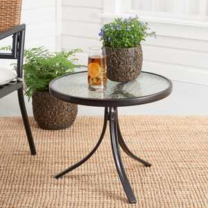 """Mainstays Round Glass Side Table, 20"""" D x 17.5H, Dark Brown Finish"""
