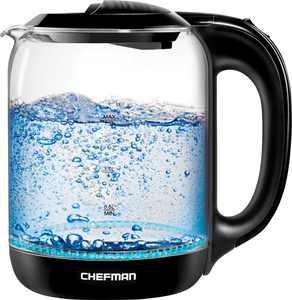 CHEFMAN - 1.7 Liter Electric Glass Tea Kettle, Fast Heating Boiler, Swivel Base, Cordless Pouring, BPA Free, Auto Shut-Off - Black