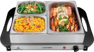 """CHEFMAN - Electric Buffet Server + Warming Tray w/ Adjustable Temp Hot Plate, 14"""" x 14"""" Surface - Stainless Steel"""