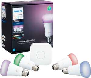 Philips - Geek Squad Certified Refurbished Hue White and Color Ambiance A19 LED Starter Kit