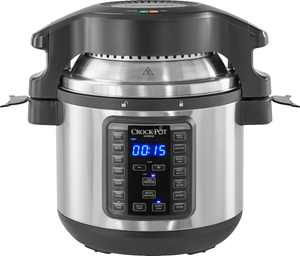 Crock-Pot - 8-Qt. Express Crock Programmable Slow Cooker and Pressure Cooker with Air Fryer Lid - Stainless Steel