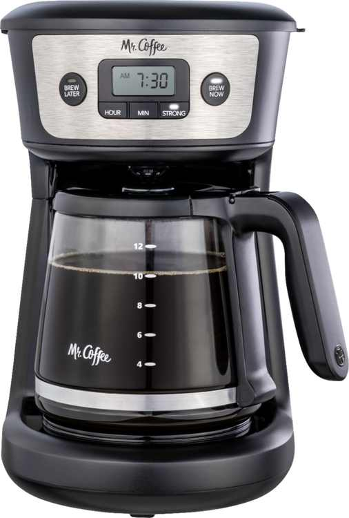 Mr. Coffee - 12-Cup Coffee Maker, Strong Brew Selector and Reusable Coffee Filter - Stainless Steel