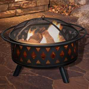 """Pure Garden - Fire Pit Set, Wood Burning Pit With Spark Screen, Cover and Log Poker, 32"""" Round Crossweave Firepit - Black"""