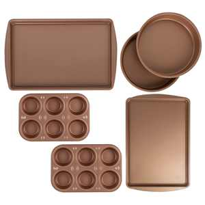 BakerEze 6 Pc Copper Nonstick Bakeware Set, Muffin Cake & Cookie Pans