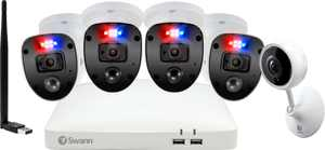 Swann - Enforcer 8-Channel, 4-Camera Indoor/Outdoor Wired 1080p 1TB DVR Surveillance System with Wifi Tracking Camera/Antenna - White
