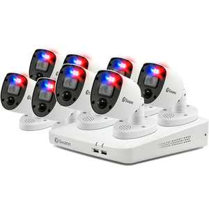 Swann - Enforcer 8-Channel, 8-Camera Indoor/Outdoor Wired 4K UHD 2TB DVR Security Camera Surveillance System - White - White