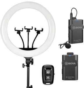 Sunpak - Premium Series 18 Inch Bi-Color Ring Light Kit with BOYA Wireless Microphone and Bluetooth Remote
