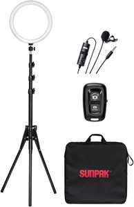"""Sunpak - 12"""" Bi-Color Ring Light Kit with BOYA Lavalier Microphone and Bluetooth Remote for Smartphones and Compact Cameras"""