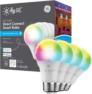 C by GE - Full Color Direct Connect Light Bulbs (4 A19 LED Color Changing Light Bulbs), 60W Replacement - Full Color