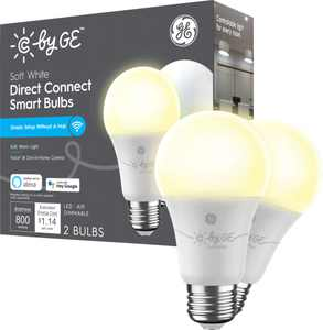 C by GE - Direct Connect Light Bulbs (2 A19 Smart LED Light Bulbs), 60W Replacement - Soft White