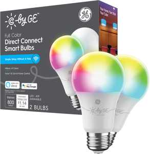 C by GE - Full Color Direct Connect Light Bulbs (2 A19 LED Color Changing Light Bulbs), 60W Replacement (Packaging May Vary) - Full Color
