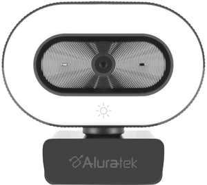 Aluratek - 1080P Live Webcam w/Adjustable Ring Light - Black