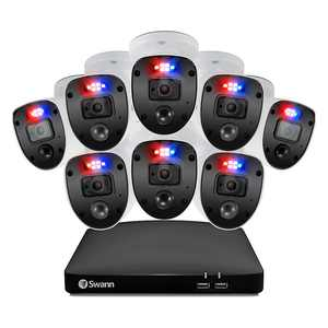 Swann - 8 Channel 1TB, 8x 1080p Enforcer Cameras w/ Police Style Flashing Lights & Color Night Vision - White