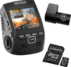 Rexing - V1P Plus 4K UHD Front and Rear Dash Cam with Wi-Fi - Black