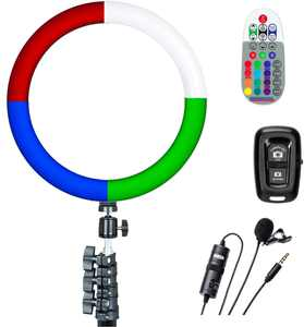 """Sunpak - 12"""" Rainbow Ring Light Vlogging Kit w/BOYA Lavalier Microphone and Bluetooth Remote for Smartphones and Cameras"""