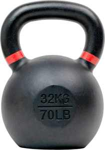 Tru Grit - 70-lb Cast Iron Kettlebell - Black