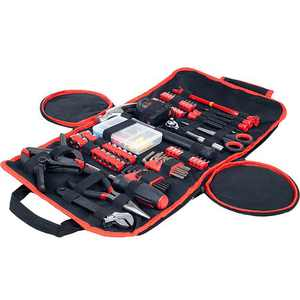Fleming Supply 86 Piece Hand Tool Kit with a Roll Up Carry Case for Household and Auto Repairs - Black, Red