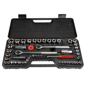 Fleming Supply - Stalwart 52 Piece 1/4, 3/8 and 1/2 Drive Socket Set SAE and Metric - Black, Red
