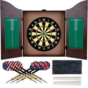 Toy Time - Dartboard Cabinet Set- Self Healing Dart Game in Hanging Protective Case with Walnut Finish 6 Steel Tip Darts - Walnut
