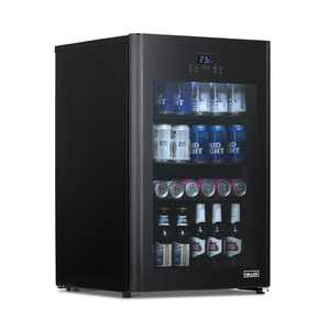 NewAir Froster 125 Can Freestanding Beverage Fridge in Black with Party and Turbo Mode, Chills Down to 23 Degrees
